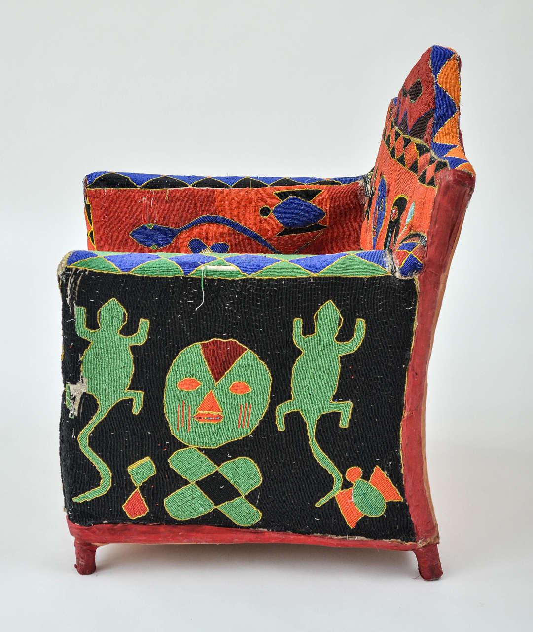 African Beaded Yoruba Chair 2
