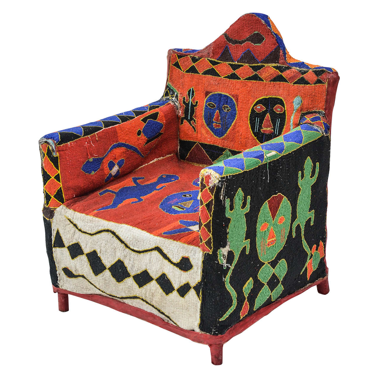 African Beaded Yoruba Chair
