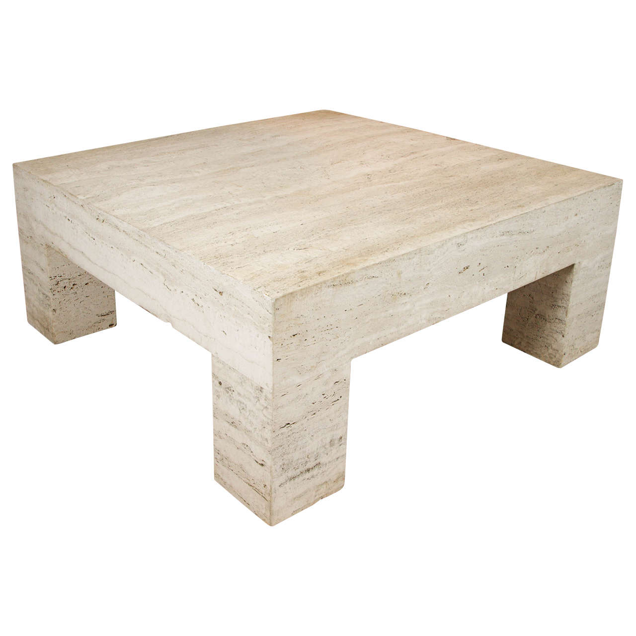 Modern Honed Monolithic Travertine Coffee Table At 1stdibs