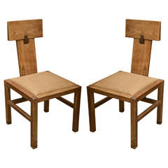 Pair of Oak Side Chairs by Andre Sornay