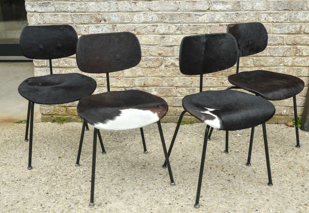 two pair of se 68 chairs by egon eiermann in original cowhide for