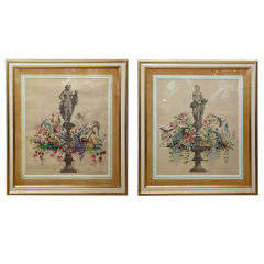 Dramatic Pair Of Large Scale Handpainted Depictions Of Statuary