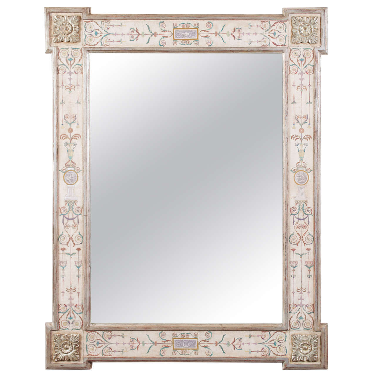 "Hand-Painted Neoclassical ""Pompeii"" Mirror 1"