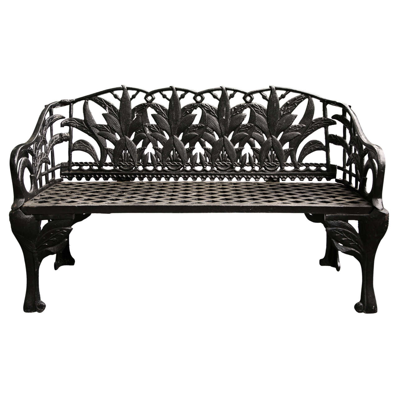 Pair Of Black Cast Iron Benches At 1stdibs