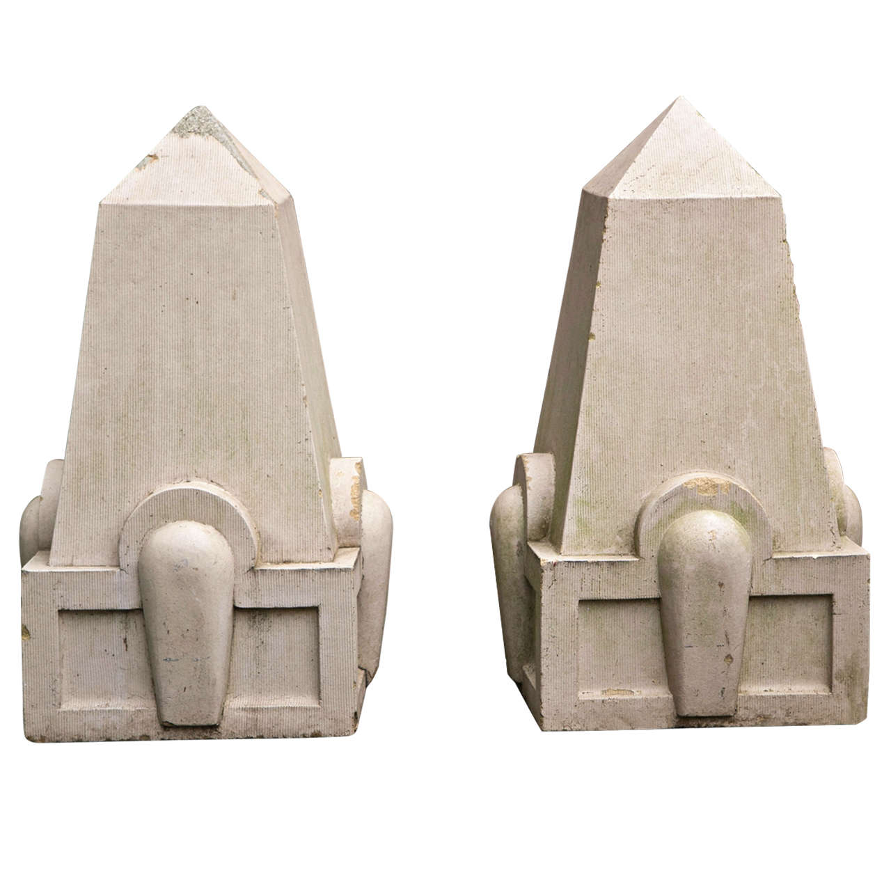 Pair of Art Deco Glazed Terra Cotta Finials For Sale