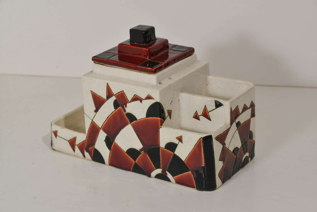 Mid-20th Century Art Deco Boch Freres Charles Catteau Belgian Cubist Keramis Ceramics, Desk Set For Sale