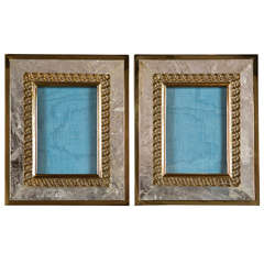 Pair of Rock Crystal Photo Frames, Contemporary
