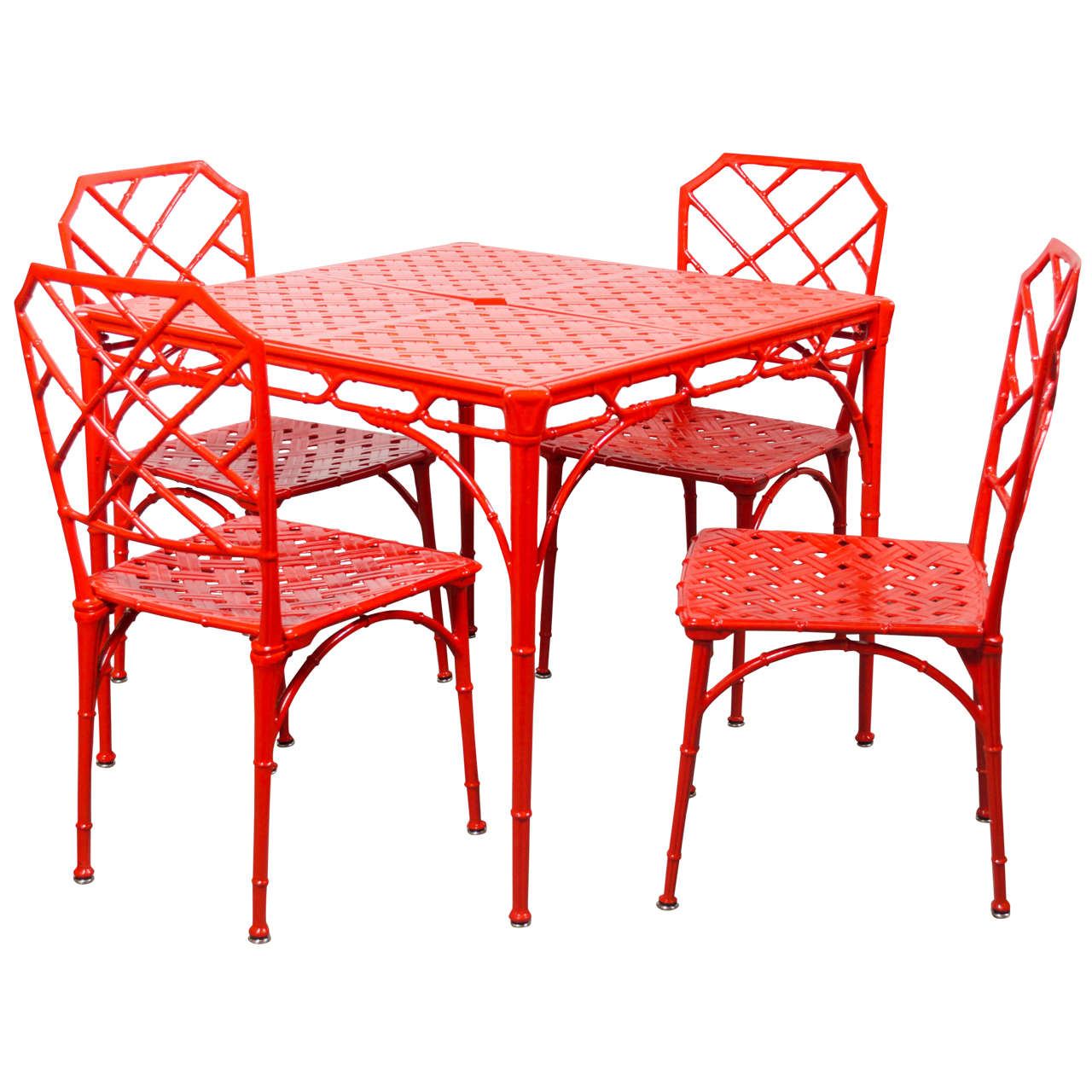Hollywood Regency Style Faux Bamboo Dining Or Patio Set In