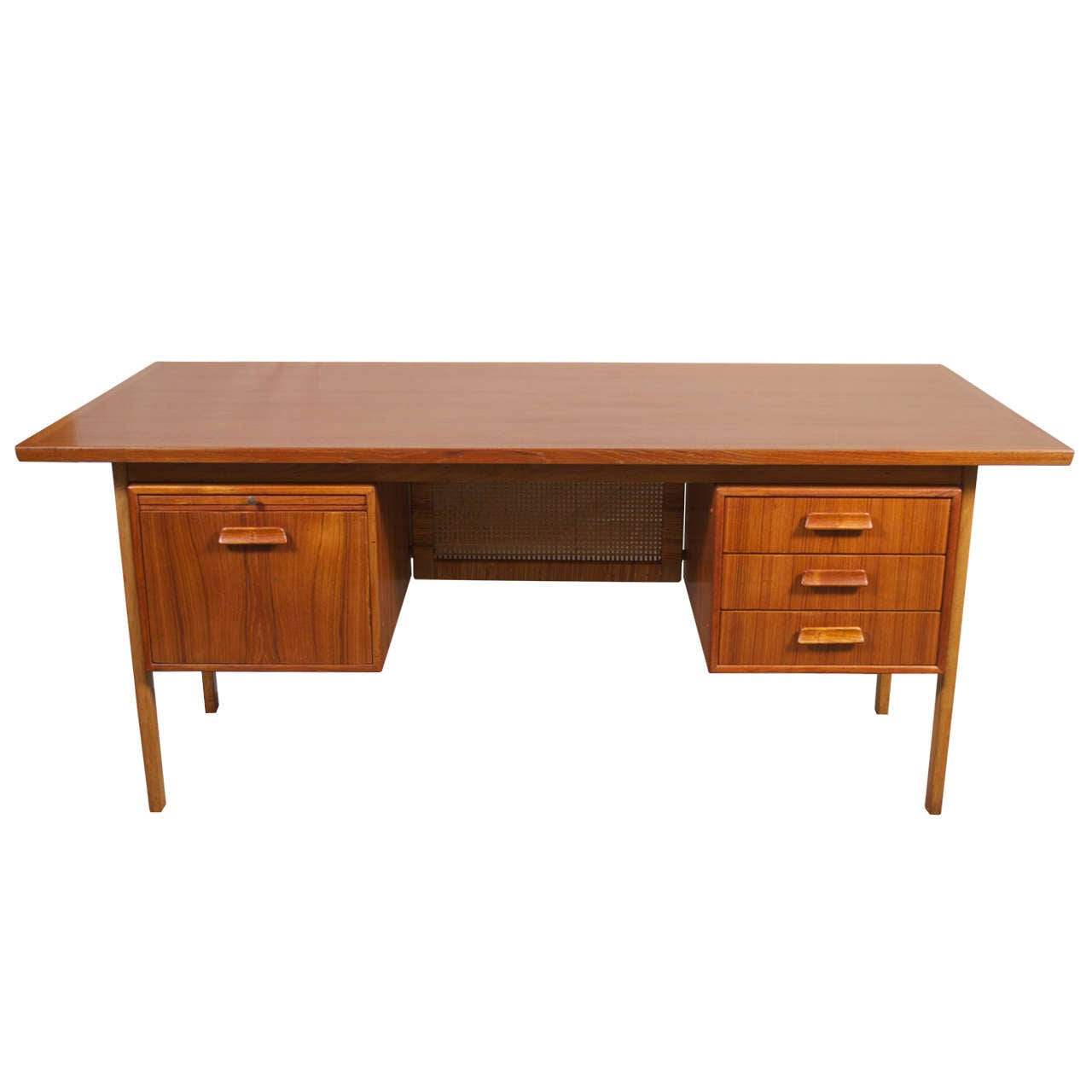 danish modern teak executive desk wrattan modesty screen at stdibs - danish modern teak executive desk wrattan modesty screen