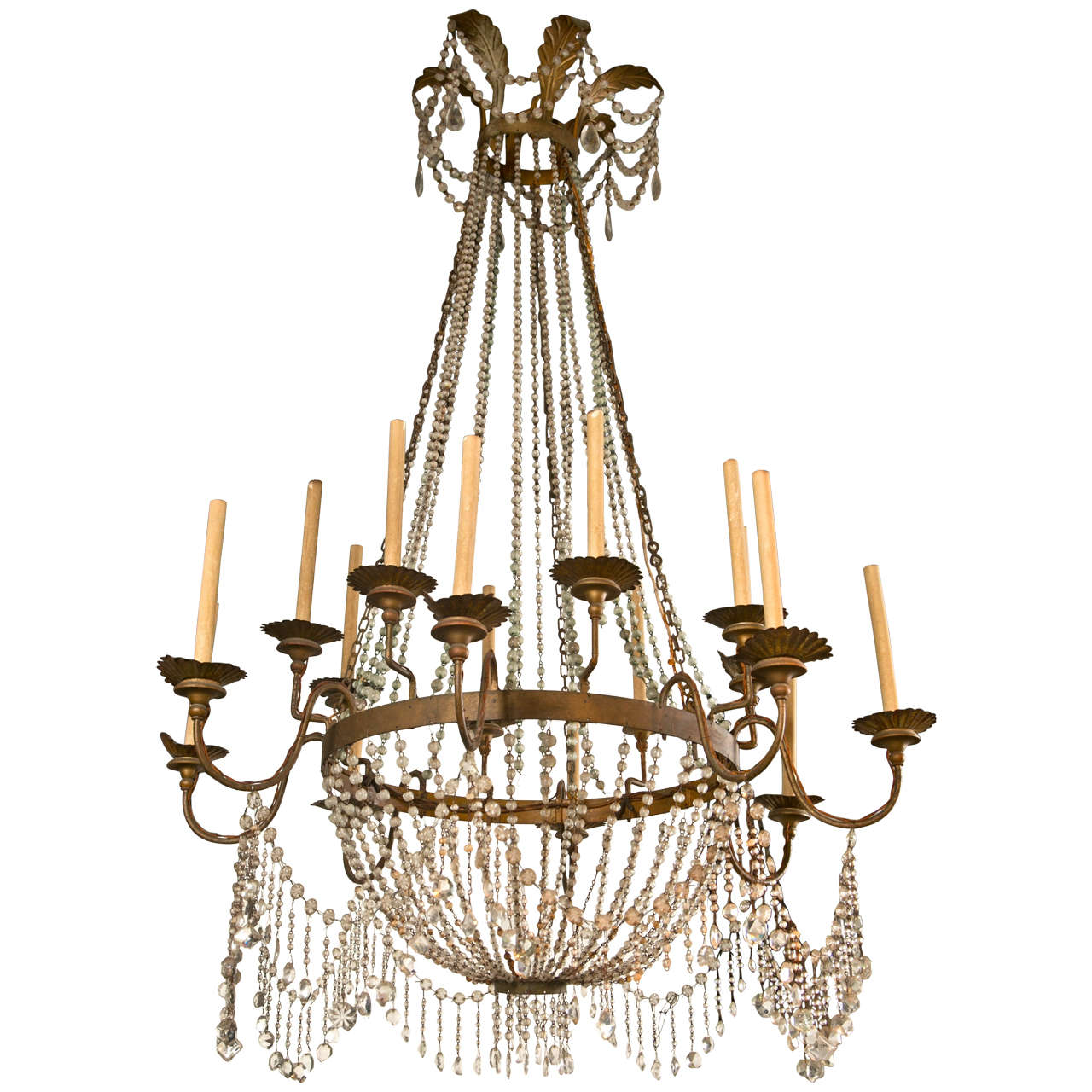 Large French Crystal 16 Arm Chandelier For Sale At 1stdibs