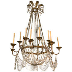 Large French Crystal 16 Arm Chandelier