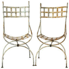 """Pair of Basket Weave Wrought Iron """"Beverly Hills Hotel"""" Style Garden Chairs"""