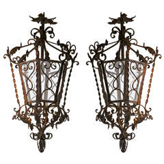 Pair of Wrought Iron Lanterns with Glass Panels