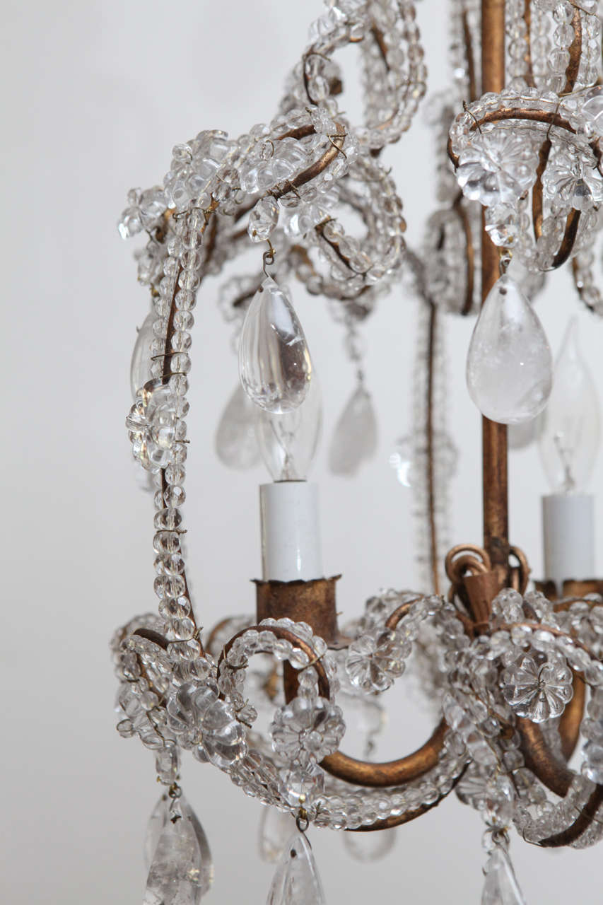 Beaded Rock Crystal Chandelier At 1stdibs
