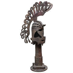 Iron Trojan Sculpture on Pedestal