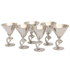 Art Deco Set of Six Fish Cocktail Cups by Hagenauer