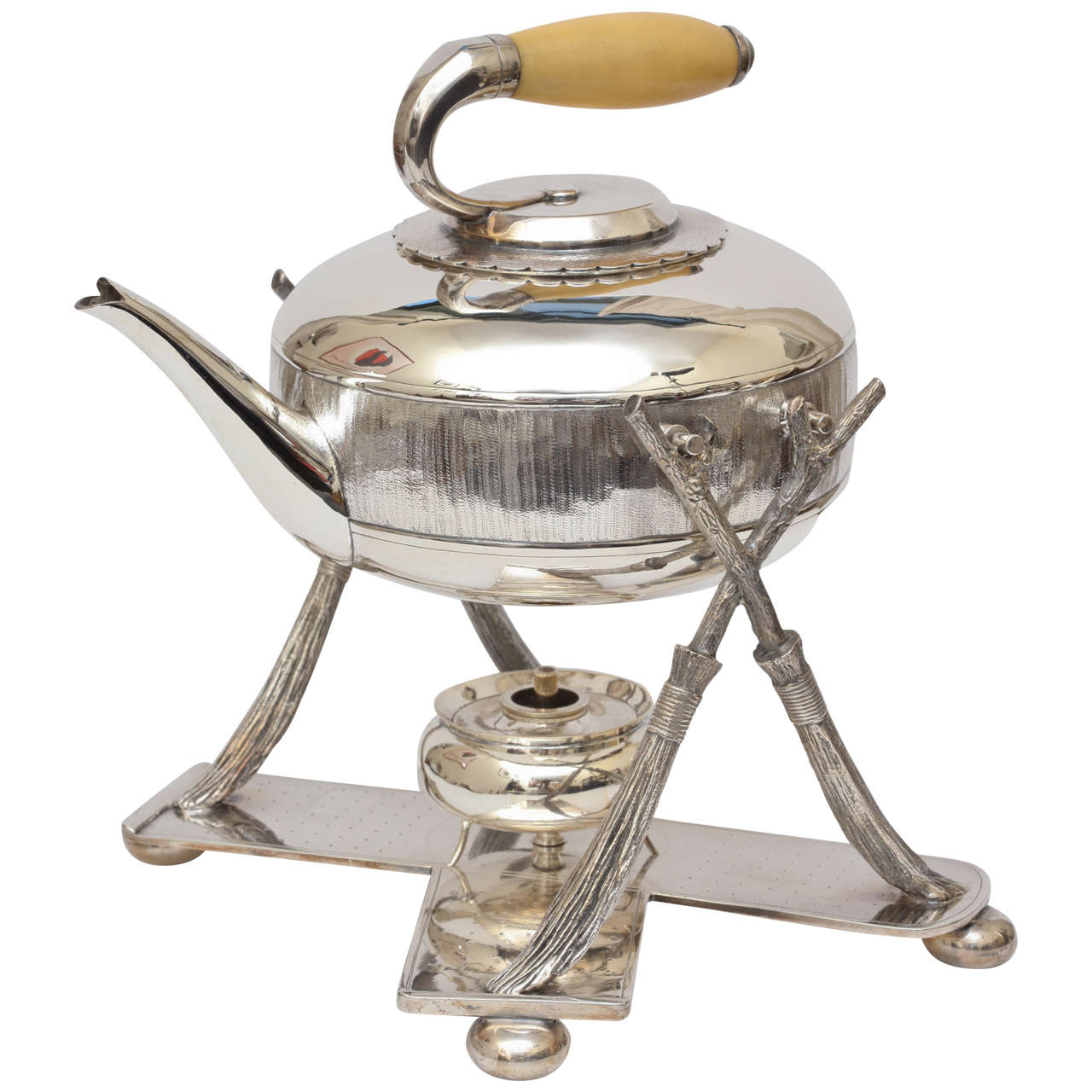 Silver Curling Stone Teapot With Warmer At 1stdibs