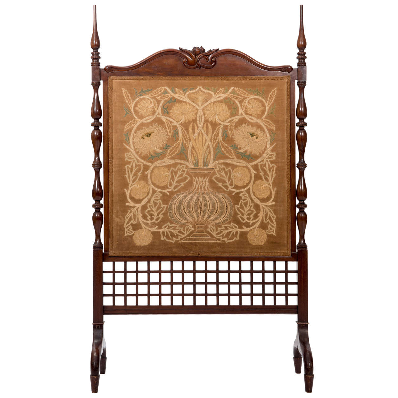 William Morris Arts And Crafts Mahogany Fire Screen, England Circa 1890 For  Sale