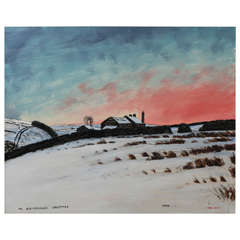 Peter Brook landscape painting oil on board, England circa 1971
