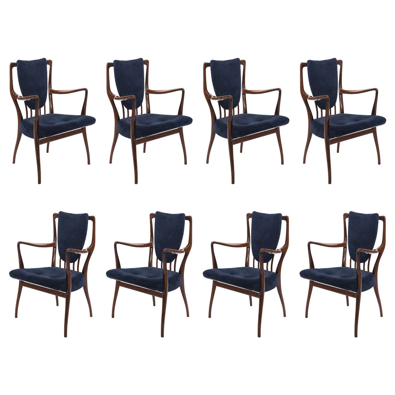 Set Of Eight Indian Rosewood Dining Chairs Designed By Andrew J Milne For Sale