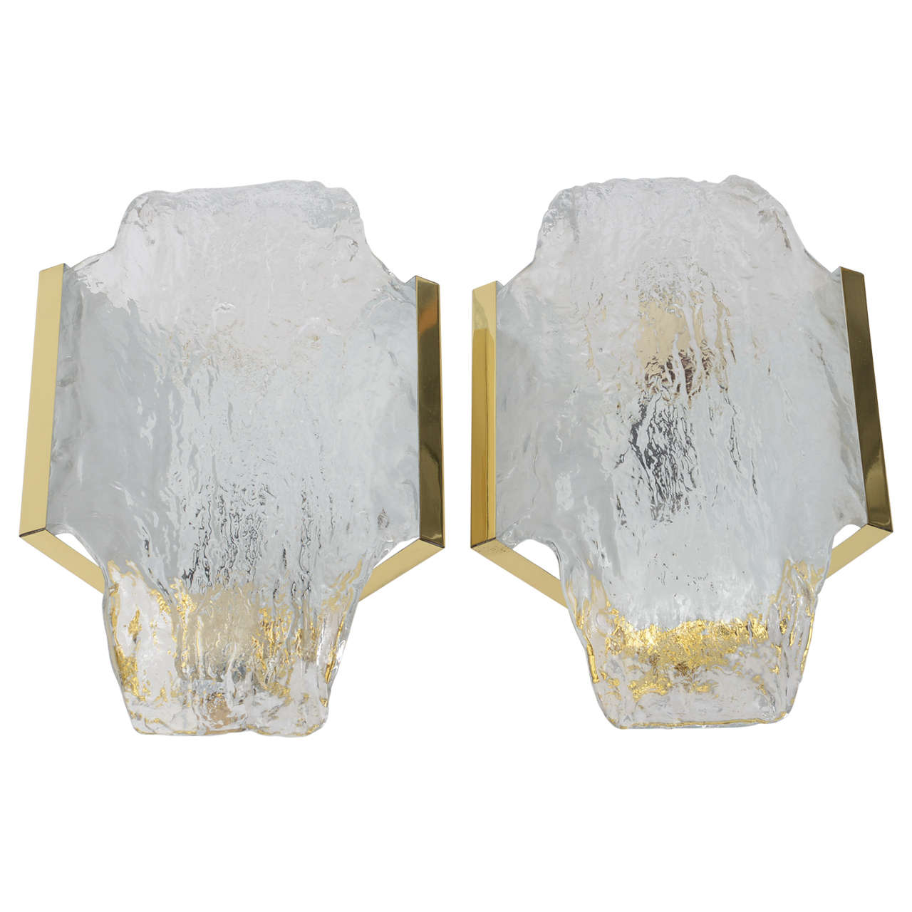 Pair of 1960s Italian Brass and Murano Glass Wall Sconces by Mazzega