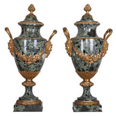 19th Century French pair of gilt bronze mounted green marble vases