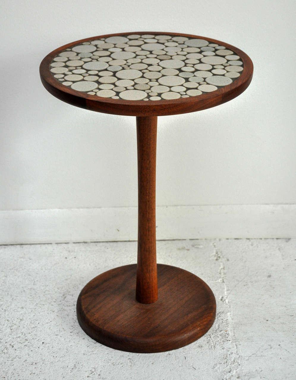 Ceramic tile top round side table by gordon martz at 1stdibs - Ceramic pedestal table base ...