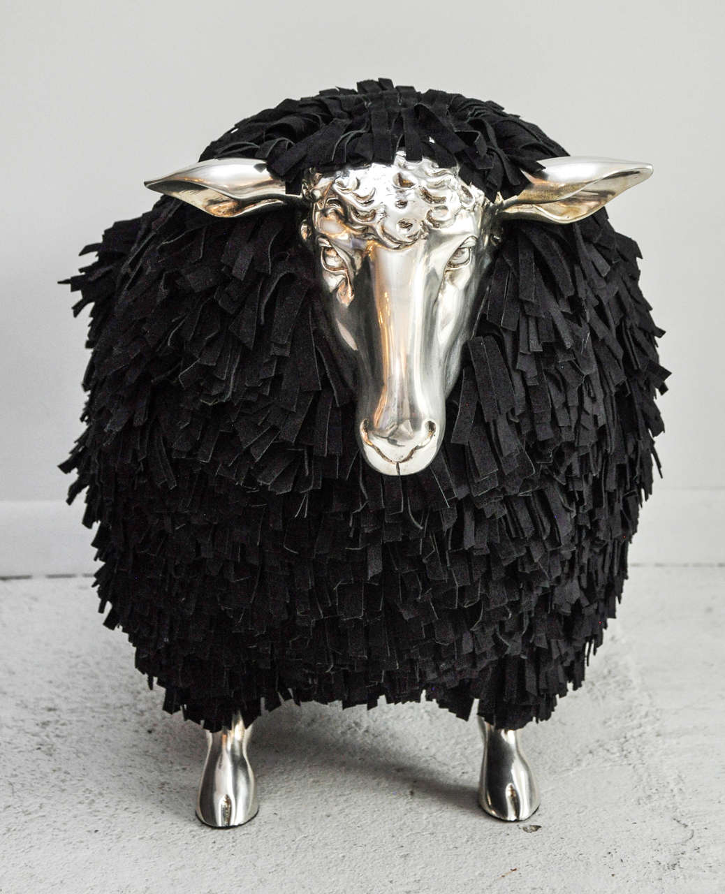 Silver And Black Sheep Stool At 1stdibs
