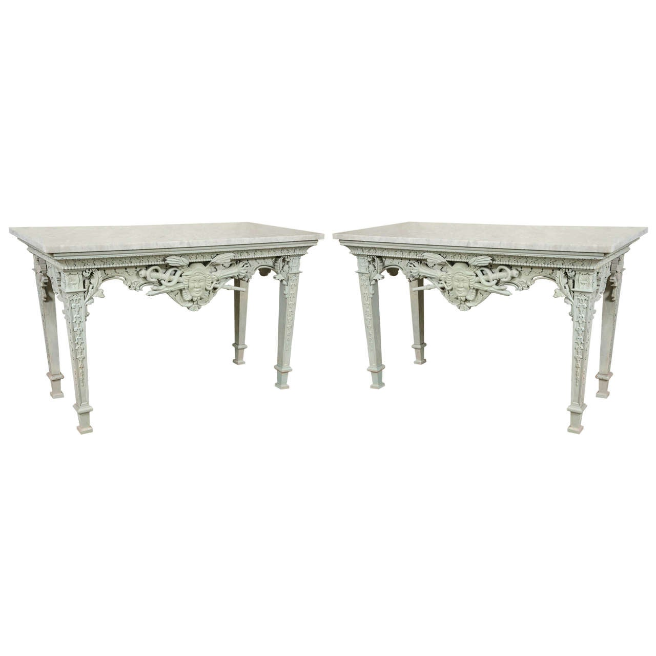 Pair Of Monumental French Painted Marble Top Console Tables 1