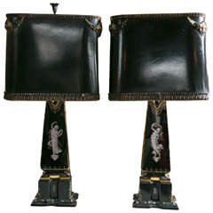 Pair Exquisite Opaline and Paint Decorated Table Lamps W/ Opposing Dancing Lady