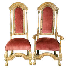Set Ten Highly Decorative Custom French Chinoiserie Dining Chairs Louis XV Style