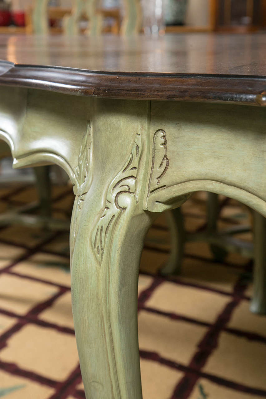 French Sage Painted Louis Xv Style Farm Dining Table At
