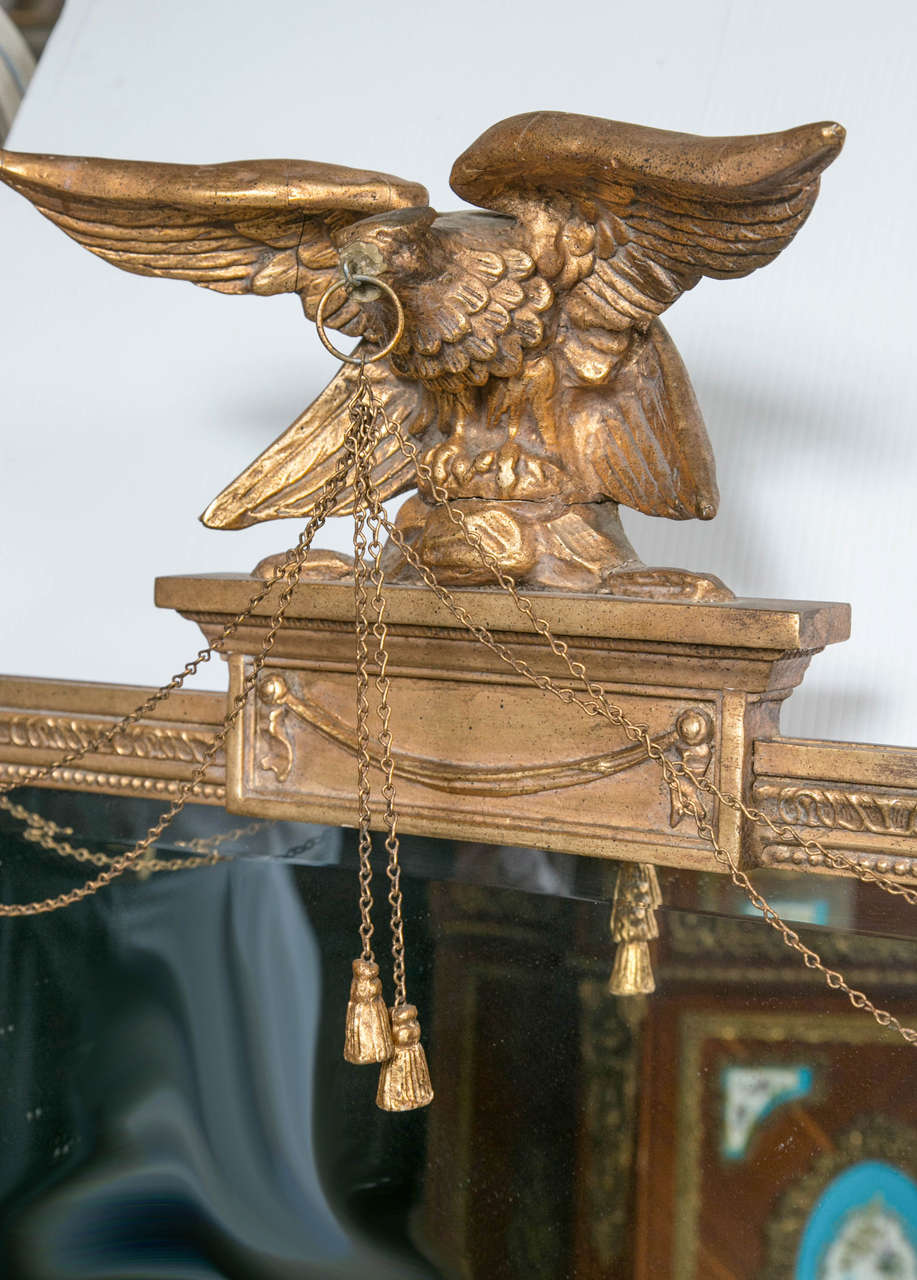 Huge old hand carved wood federal eagle folk art wooden eagle wall - Federal Style Antique Mirror With Gilt Carved Eagle 3