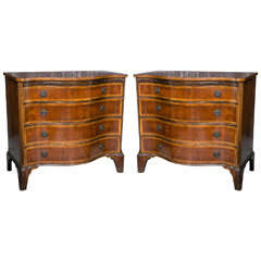 Pair Serpentine Georgian Style Bachelor Chests