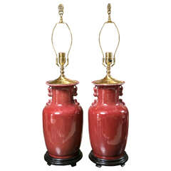 Pair of Cinnabar Red Ginger Jars Mounted as Table Lamps