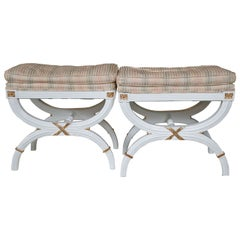 Pair Hollywood Regency White Lacquer X-Benches / Footstools Gilt Gold Highlights