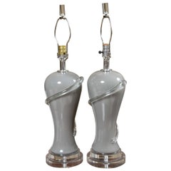 Pair of Deco Style Gray Glass Table Lamps with Lucite Bases