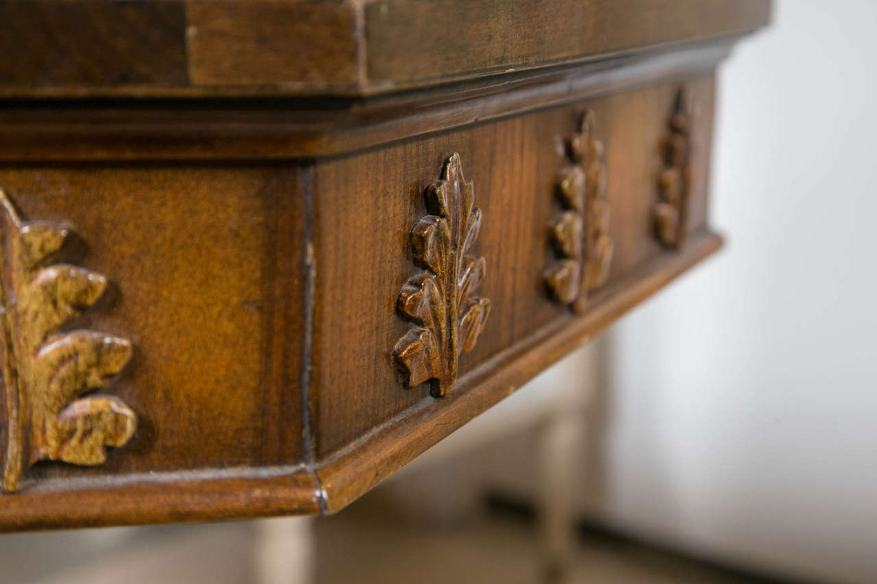 Pair of Neoclassical Style Detailed Carving Walnut Pedestal Console / End Tables For Sale 4