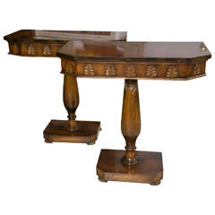 Pair of Neoclassical Style Detailed Carving Walnut Pedestal Console / End Tables