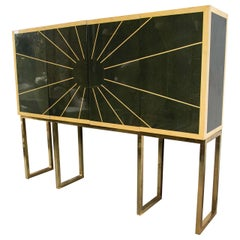 Cabinet on Bronze Stand Monumental Exquisite Sunburst Design