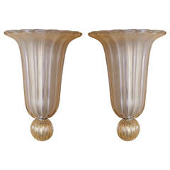 Pair of Gold Opalescent Murano Sconces by Venini, Signed ( On Hold )