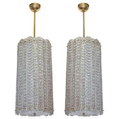 Pair of Clear Murano Glass & Brass Lanterns, circa 1970s