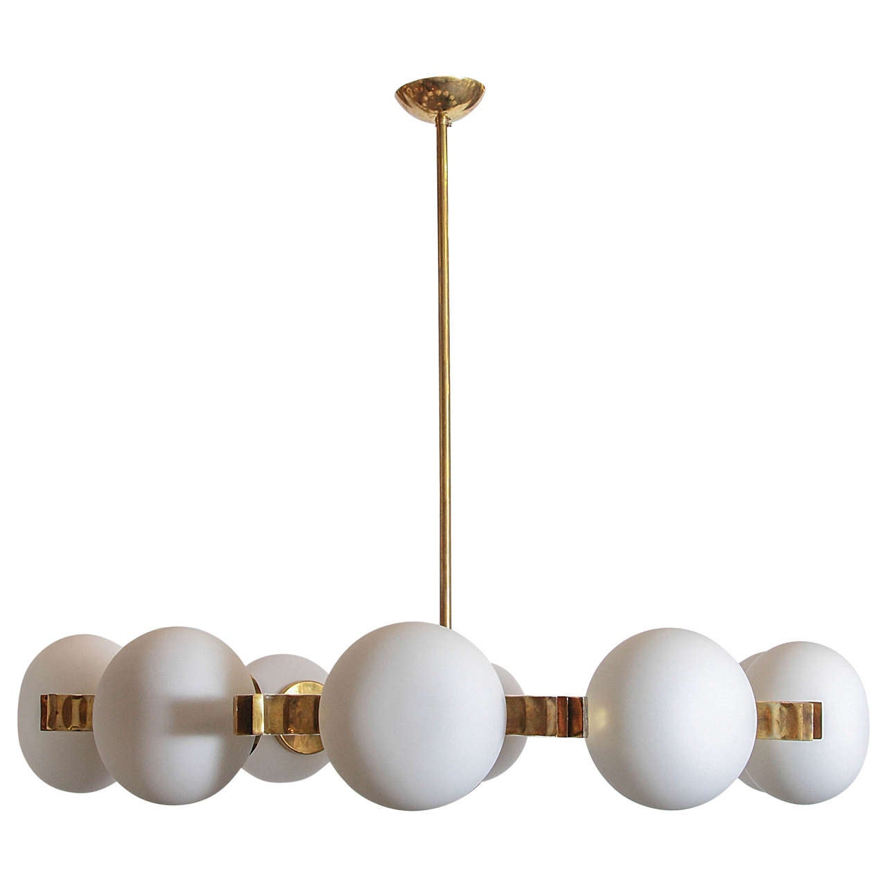 Brass and Frosted White Glass Chandelier in the Style of Stilnovo