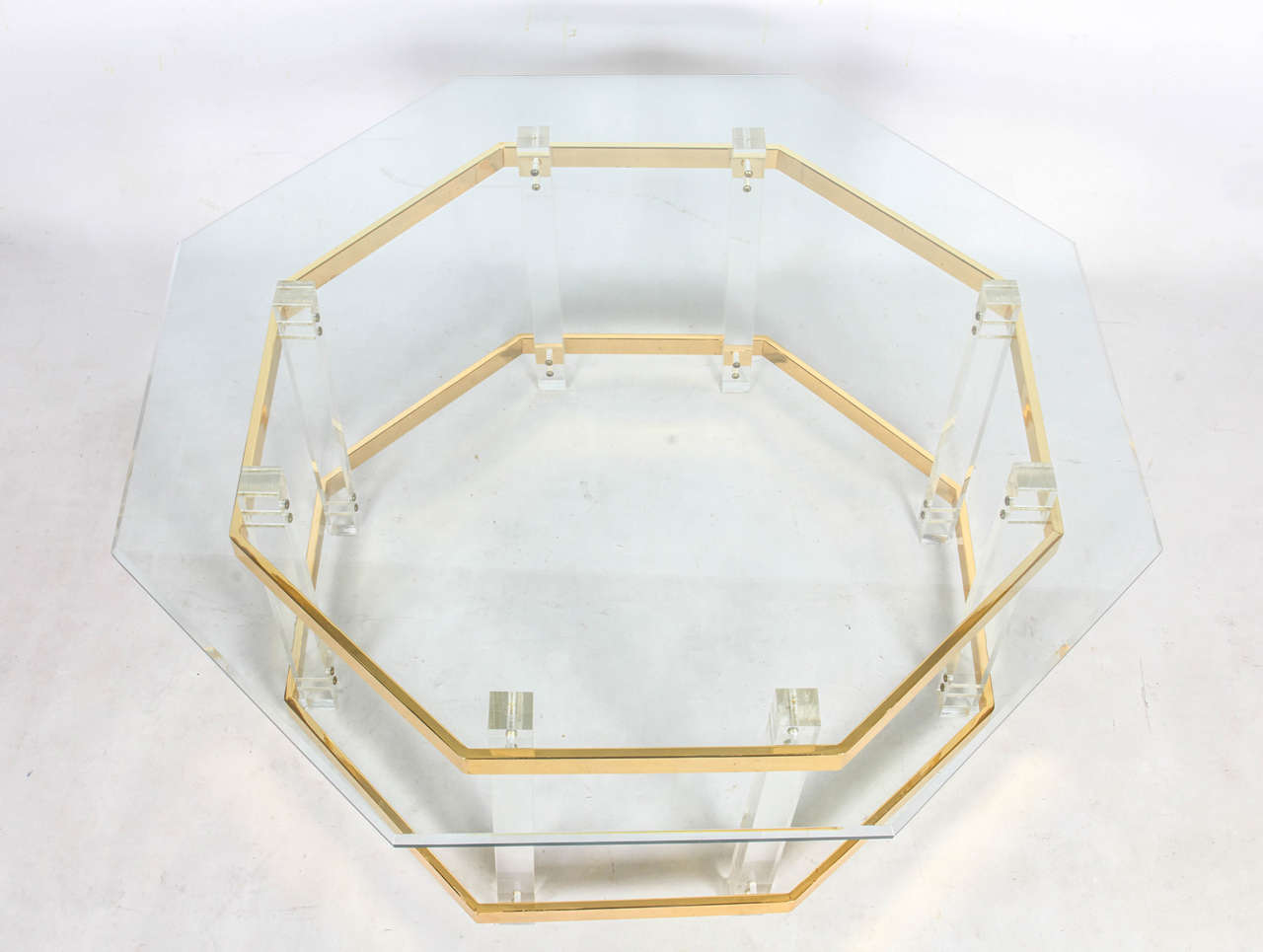 Hollywood Regency Lucite and Brass Coffee Table For Sale
