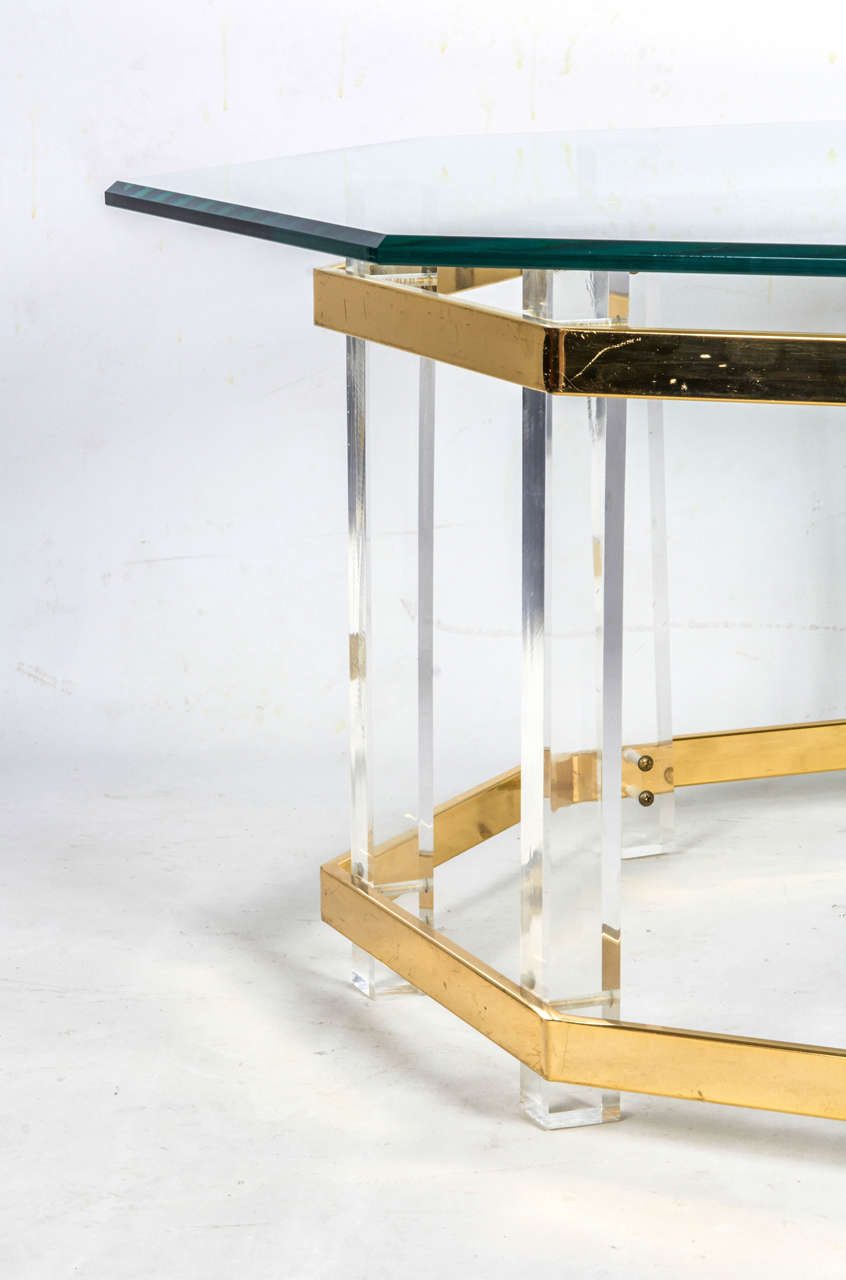 American Lucite and Brass Coffee Table For Sale
