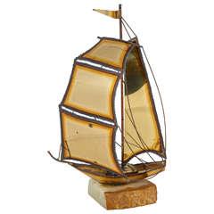 Charming Torch Cut Brass Sailboat Sculpture