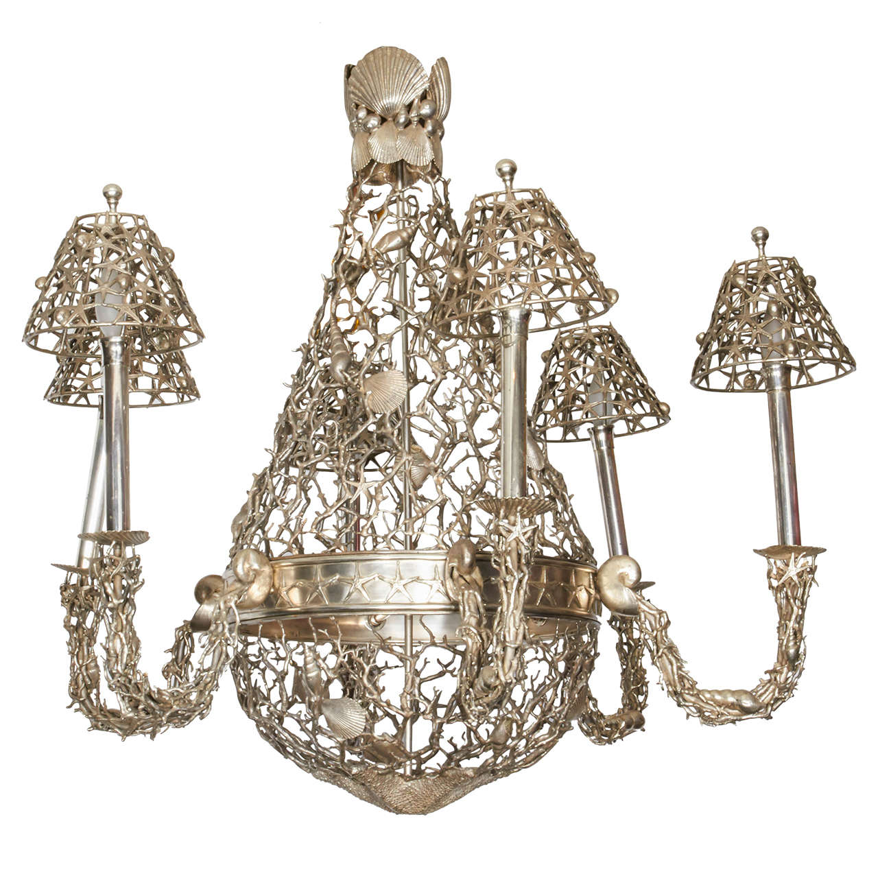 20th Century Silvered Bronze Seashell Chandelier at 1stdibs
