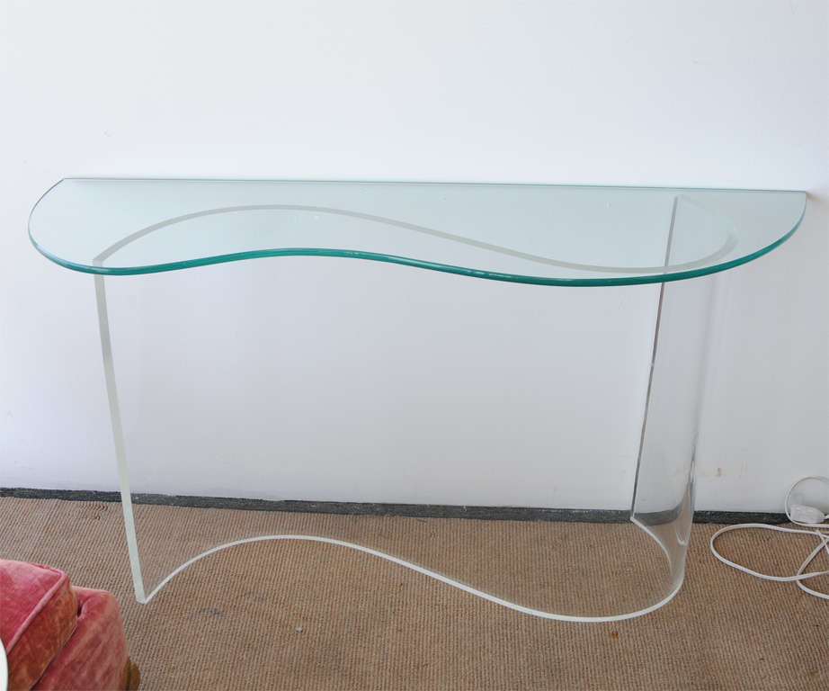 Wavy Lucite Console Table At 1stdibs