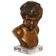 French Bronze Bust on Lucite Base by Duquesnoy