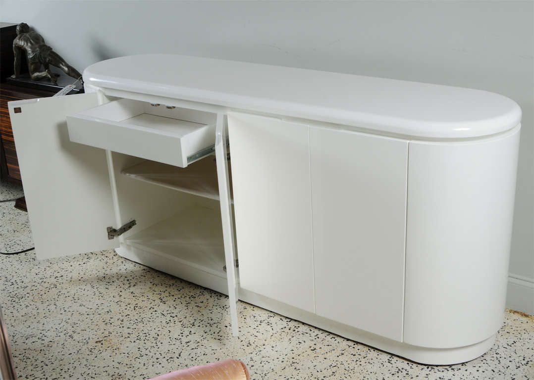 Mid Century Modern White Lacquered Tubular Floating Buffet